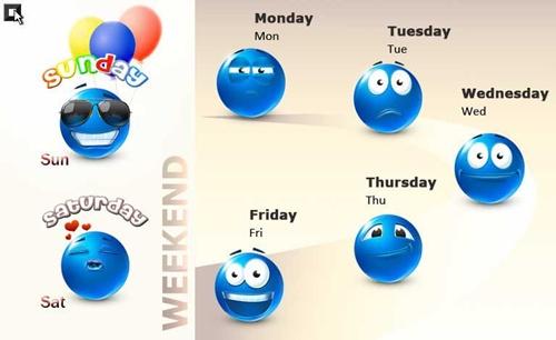 Дни недели - веселая иллюстрация