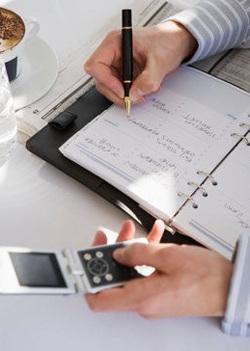 Переписываем данные из телефона в ежедневник