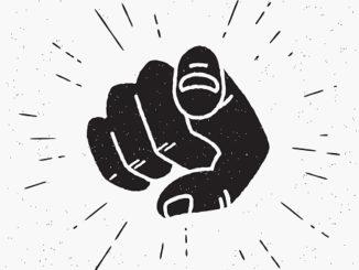 Retro black hand pointing finger